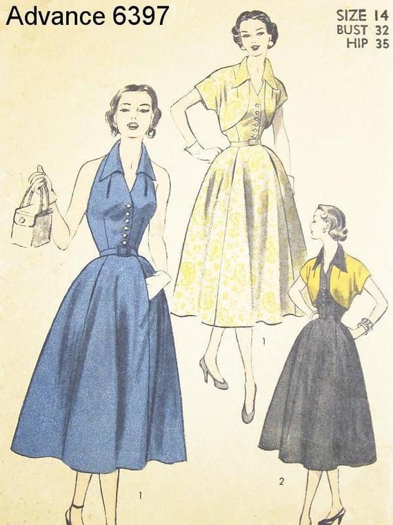 Vintage Halter Kjole Mønster - Advance 6397 - VTG 1940'erne misses 'kjole og Bolero - SZ 14/Bust 32