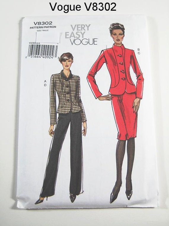 Vogue Suit Pattern V8302 Misses' Jacket, Skirt & Pants - Sz 6/8/10/12