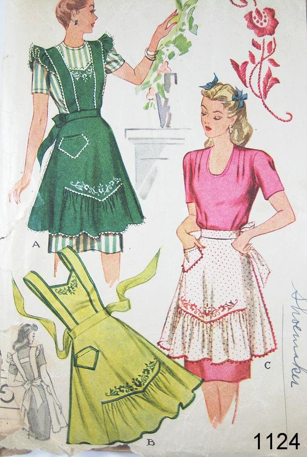 Vintage apron pattern mccall 39 s 1124 vtg 1944 for Apron designs and kitchen apron styles