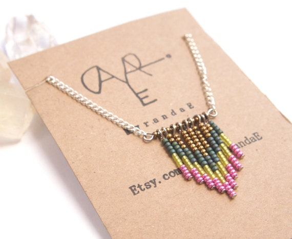 Navajo Boho Beaded Necklace in Chevron Verdigris Flat Teal Neon Green and Hot Pink