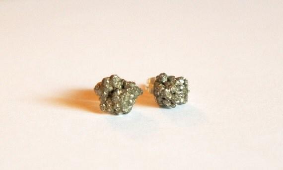 Pyrite Specimen Earrings Studs 004
