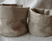 Set of two reversible linen fabric bins