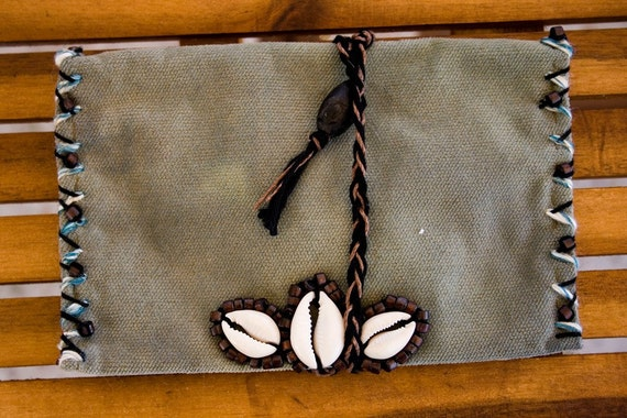 ON SALE- Cowrie shells 'n' Earthy tones tobacco pouch