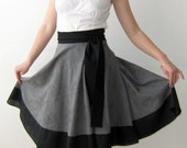 Gray sun-flared wrap skirt