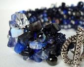Bracelet, Blue Jeans, Unique Cuff, Fall Blue Grey, hand knit by lapisbeach on Etsy