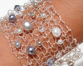 Snow White Pearl Sparkling crystal Bracelet Holiday Gift for her Beaded Grey Freshwater Silver Wire Woven Cuff Ready to Ship