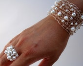 June Birthstone White Pearl Cuff Bracelet & Cocktail Ring Set 2 pc Wedding Birthday Summer Jewelry OOAK Unique wire knit freshwater pearls