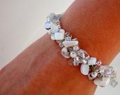 White Moonstone Bracelet Wedding Party Bridesmaid Jewelry Hand Knit Beaded Bangle Luminous Silver Twisted Arctic Ice
