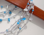 Beaded Crochet Jewelry. Rope necklace lariat bracelet long boho layered jewelry, Summer casual silver  white  turquoise