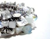 Moonstone Semi Precious Stone White Bracelet bridal jewelry custom exclusive artisan knit beaded thin cuff minimal white silver