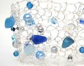 Spring Fashion. Stone Cuff Bracelet. Modern Metallic Wire Knit. Mermaid Net. Silver lace, aqua, teal, light blue, cobalt, crystal, pearl