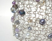 Lilac Purple Bracelet Metal Wire Lace Artisitc Knit Mesh Jewelry Pastel pearl crystal periwinkle orchid