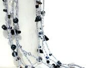 Black & Silver crochet wrap necklace bracelet, beaded crochet jewelry black onyx, gray stones