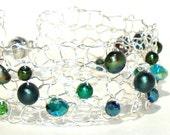 Emerald Pearl Bracelet, Handmade Metallic Modern Knit Cuff, Pearl & Crystal, Green, Olivine, Hunter Pearls May birthstone