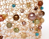 Big Pearl Cuff Bracelet Modern Gold Wire Knit Statement Jewelry Colorful turquoise desert coral pearl & crystal