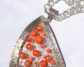 Orange Geometric Pendant and Chain Silver Tangerine Dreamcatcher Necklace Unique Wire Knit Jewelry Geometry Triangle Pearl Crystal