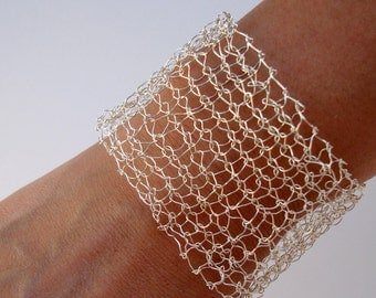 Ready to Ship Silver Cuff Bracelet Wire Mesh Lace Silver Arm Cuff Modern Contemporary Minimal Chic Hand Knit Jewelry Gift For Her Under 100
