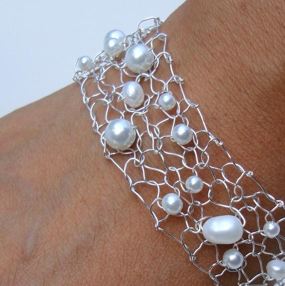 Braided Bracelet Pearl Cuff Bracelet Delicate Bracelet Beaded Bracelets Modern Chic Jewelry Bridal Bracelet Thin Arm Cuff White Pearl