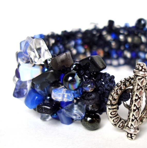 Navy Sapphire Cobalt Blue Bracelet Heavily Beaded Cuff Nautical Semi Precious Stone Jewelry