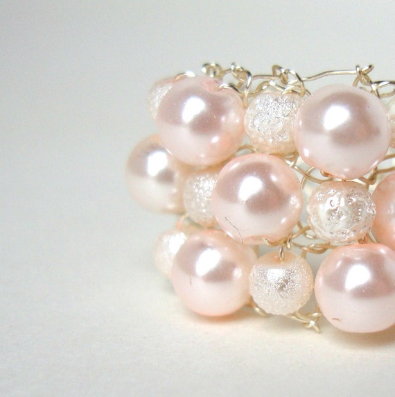 Pink Pearl Cocktail Ring / Big Silver Wire Ring / Rose Blush / Pearl Cluster Ring / Pastel Petal Silver Peony / Valentines Day