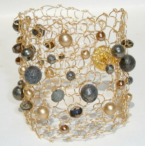 Fools Gold Pyrite Cuff Bracelet Gold & Grey Chic Wire Mesh Beaded Knit Jewelry Statement Bracelet