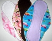 Surprise Set of Three Flannel Topped Cloth Menstrual Pads - 12 inch