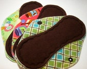 Surprise Set of Three Flannel Topped Cloth Menstrual Pads - 10 inch