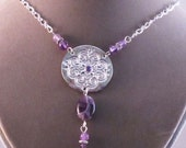 Scrollwork Necklace and Earrings with Amethyst Cubic Zirconium
