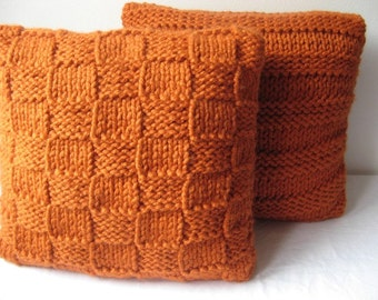 Super chunky Squared cushion cover in Burnt Orange