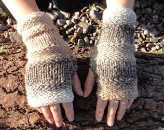 Fingerless gloves - Comfy mittens in Coffee Ripple, vegan knitwear, gift ideas