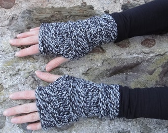 FINGERLESS GLOVES, knitted mittens in blended grey, gift UK, knitwear