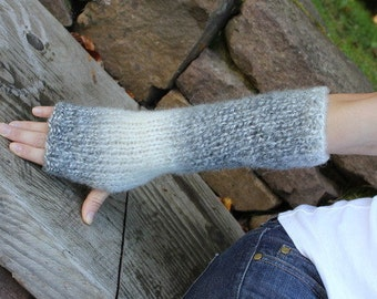 ARM WARMERS Extra long Comfy mittens in Storm Cloud, knitted womens fingerless gloves, knitwear UK