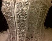 Burlesque/Showgirl Deluxe Silver/White Sequin Costume