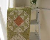 Pretty Triangles Quilt In Shades of Greens And Peaches
