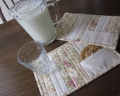 Shabby Chic Quilted Mug Rugs With Cookie Pockets