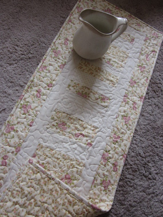 Shabby Chic  Tiny Roses Quilted Table Runner