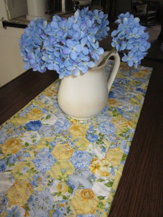 Sunshine And Blueberries Hexagon Quilted Table Runner