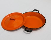 Small paella enamel pan Vintage Bright Orange and Black with cover