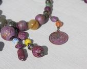 Boho Purple Anchor Stone Bead Metal Glass Jade Gypsy Necklace & Earrings