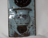 Blue & Brown Pottery Wall Pocket Greenwich Village Fair New York 1980 Signed