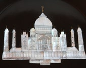 Taj Mahal Marble with Inlay Mother of Pearl Vintage Plate COUROC Made by Artisans in India