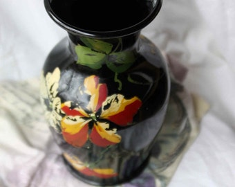 SALE Black Amethyst Vase Hand Painted Old and Large