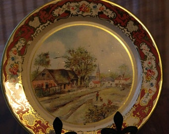 SALE DAHER Holland Gold Country Scene Tin Painted Plate Old
