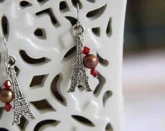 Paris in the Springtime Eiffel Tower earrings Pearls Swarovski crystals