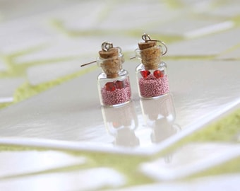 Earrings Pink or Silver with Swarovski red crystals HEARTS IN A BOTTLE