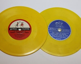 Roy Rogers and Dale Evans Vintage Vinyl yellow two Golden Records for kids