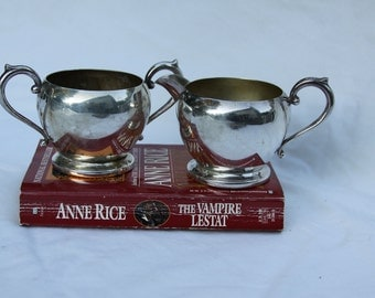 Silver Plate Sugar and Creamer set Vintage PS Co Shabby Look