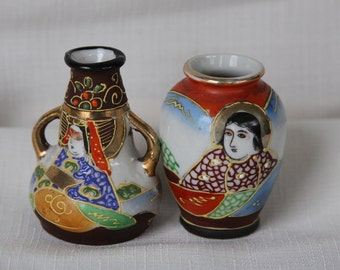 Moriage Geisha Jars satsuma Made in Japan Immortals tribute Vases