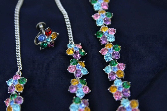 Pastel Rhinestone Flower necklace bracelet earrings set