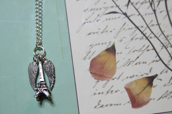To Paris on Wings Necklace and Earrings Set steampunk France Eiffel Tower